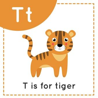 Tieralphabet-karteikarte für kinder. lernen buchstaben t. t ist für tiger.