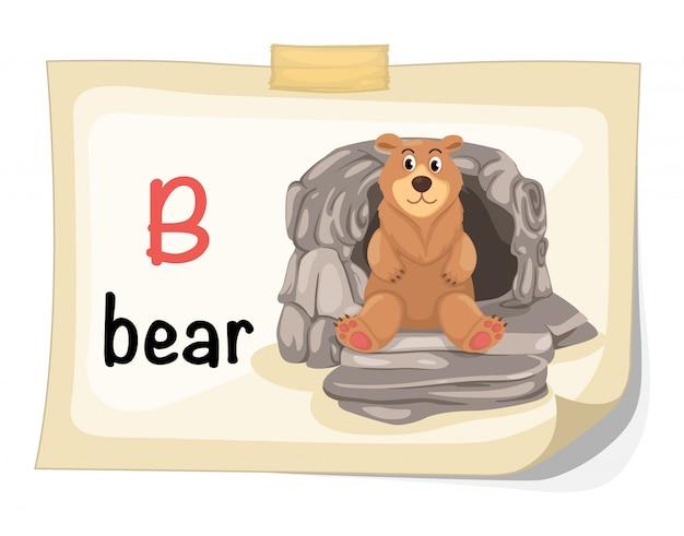 Tieralphabetbuchstabe b für bärenillustrationsvektor