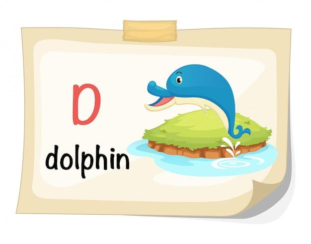 Tieralphabetbuchstabe d für delphinillustrationsvektor
