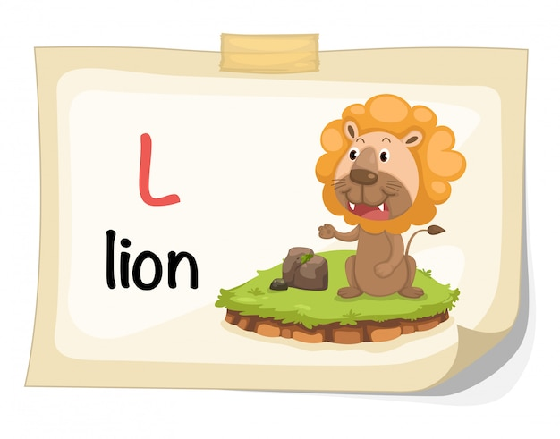 Tieralphabetbuchstabe l für löweillustrationsvektor