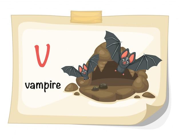 Tieralphabetbuchstabe v für vampirillustrationsvektor
