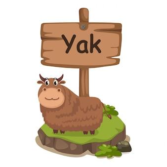 Tieralphabetbuchstabe y für yak