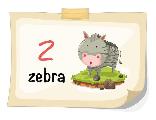 Tieralphabetbuchstabe z für zebraillustrationsvektor
