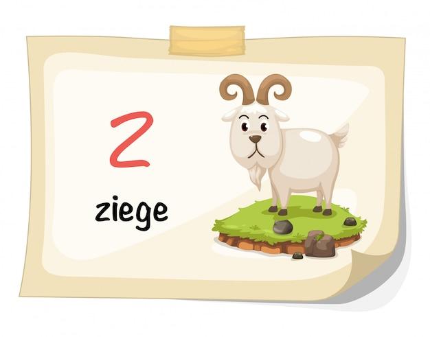 Tieralphabetbuchstabe z für ziege illustrationsvektor