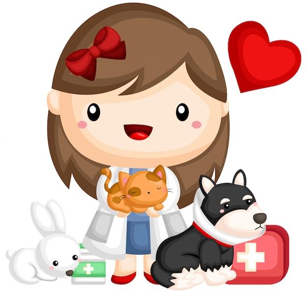 Tierarzt und tier