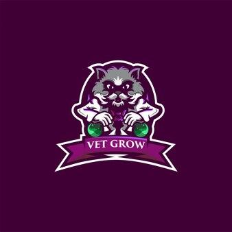 Tierarzt wachsen logo-design mit katze