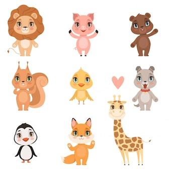 Tierbabykarikatur. hausschweinhund und wilder löwe tragen lustige niedliche tierkinderbilder des eichhörnchens und der giraffe