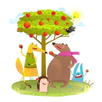 Tierbabys freunde und apfelbaum.