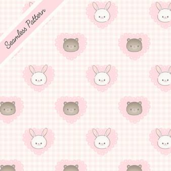 Tierbabys und rosa herzen nahtlose muster premium-vektor