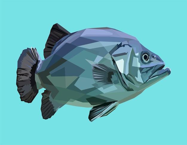 Tierdruck fisch pop-art-porträt-stil-poster-design