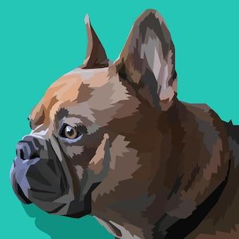 Tierdruck französische bulldogge in pop-art-farben isoliert