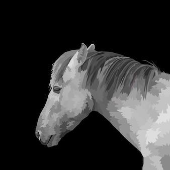 Tierdruck graues pferd pop-art-pop-art-stil isoliert dekoration