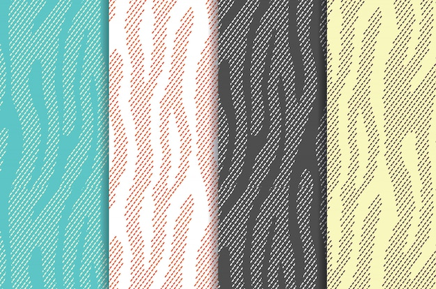 Tierdruck nahtloses muster eingestellt mit zebratigerstreifen. textil wiederkehrendes tierfell