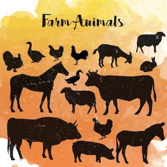 Tiere auf dem bauernhof silhouette