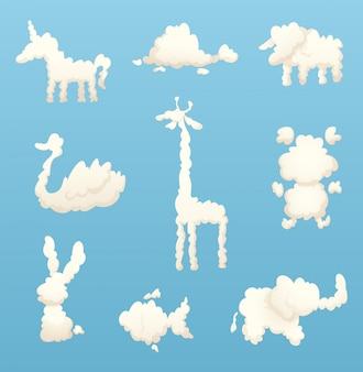 Tiere aus wolken. verschiedene formen von karikaturwolken
