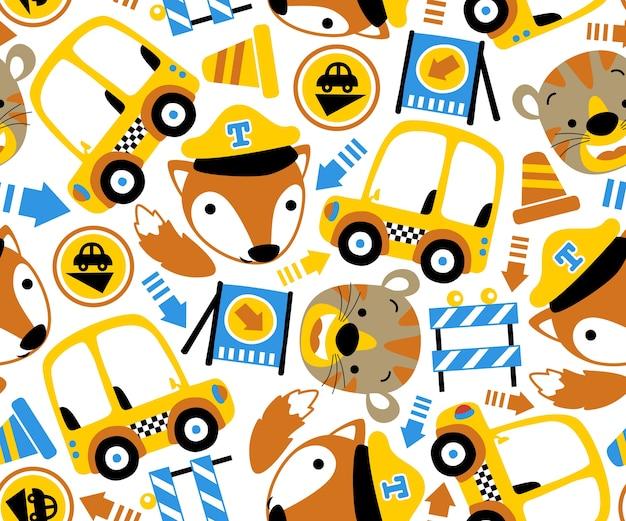 Tiere cartoon und fahrzeug verkehrszeichen