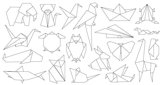Tiere der origami-linie. geometrisches grafisches papierlogo und symbolvogel, fuchs, kranich, maus, hai und elefant. umreißen sie abstrakten tiervektorsatz. illustrations-origami-hobby, chinesischer fuchs und hai-papier