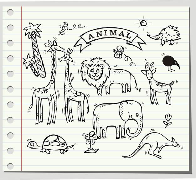 Tiere doodle-set