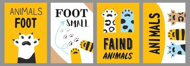 Tiere fußplakate gesetzt. katzenpfoten und krallenillustrationen mit text auf weißem und gelbem hintergrund. karikaturillustration