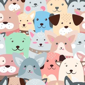 Tiere, hund - süßes, lustiges muster.