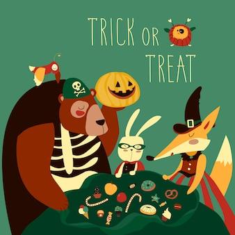 Tiere im halloween-kostüm