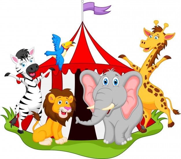 Tiere im zirkus cartoon