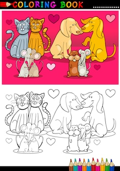 Tiere in der liebeskarikatur für malbuch