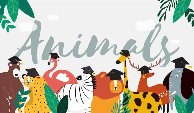 Tiere in einem karikaturartvektor