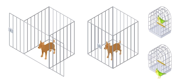 Tiere in käfigen. isometrischer hundevogel innerhalb und außerhalb des käfigs. tierpflegevektorillustration. käfig für haustier, tier hauswelpen sicherheit