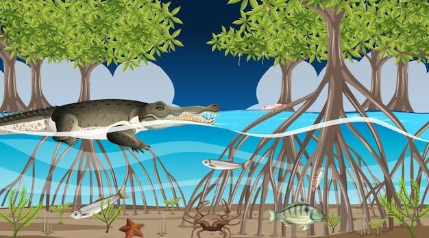 Tiere leben im mangrovenwald in der nachtszene