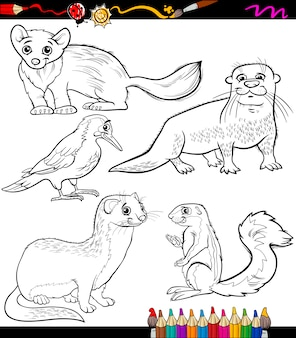 Tiere legen cartoon malbuch