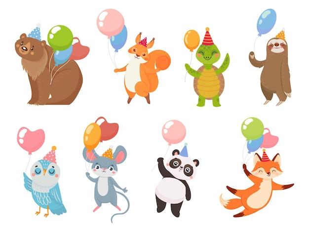 Tiere mit ballons. tiergrußparty mit luftballons, bär und schildkröte, pandafeier geburtstag lustig, vektorillustration