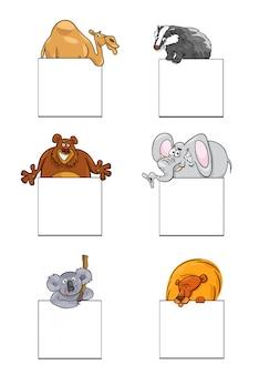 Tiere mit karten oder banner-design-set