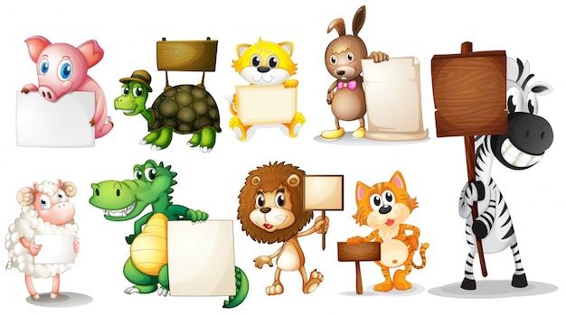 Tiere mit leeren schildern