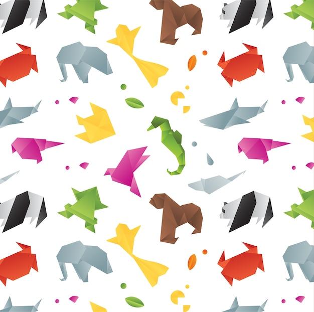 Tiere origami musterfarbe