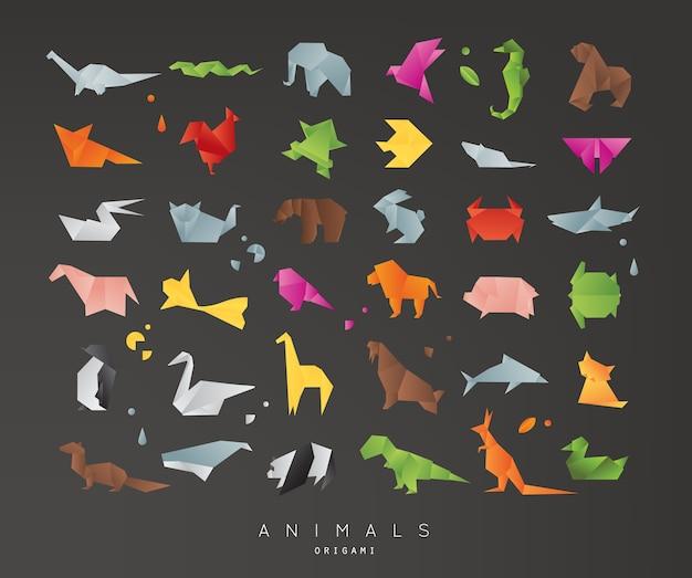 Tiere origami schwarz gesetzt