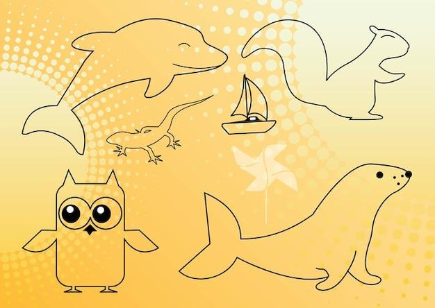 Tiere outlinegrafiken