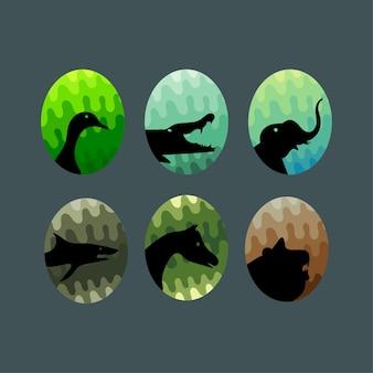 Tiere silhouette gesetzt premium-vektor