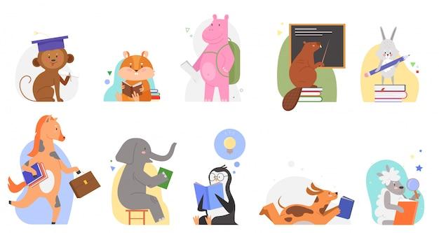 Tiere studieren an schulillustrationen. karikatur flache niedliche zootierkindcharaktere, die bücher lesen, alphabet abc durch lehrbuch lernen, bildungs- oder studienbildungskonzeptsatz isoliert auf weiß lernen