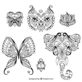 Tiere und blumen boho-stil gezeichnet