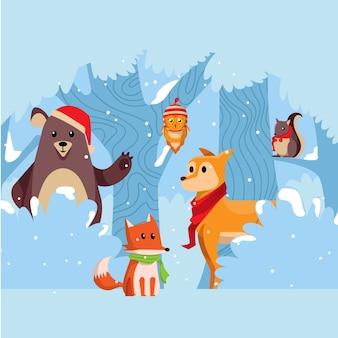 Tiere winter kollektion vektor
