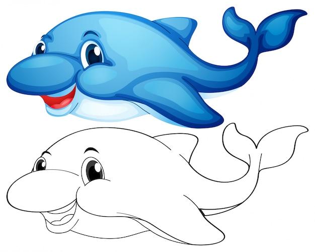Tierentwurf für niedlichen delphin
