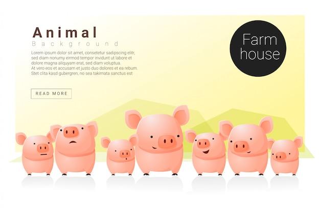 Tierfahne mit schweinen für webdesign