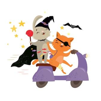 Tierfreunde der netten vektorillustration, die zu einer halloween-party gehen