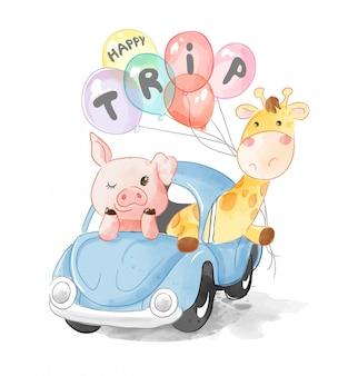 Tierfreunde im blauen auto mit luftballons illustration
