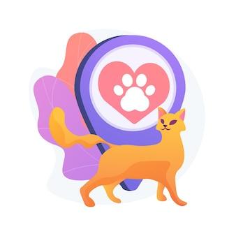 Tierfreundlicher bereich. haustiere, katzenliebhaber cafe, katzen zentrum lage. haustierpfotenschattenbild auf rotem herzzeichen. tierhotelsymbol.