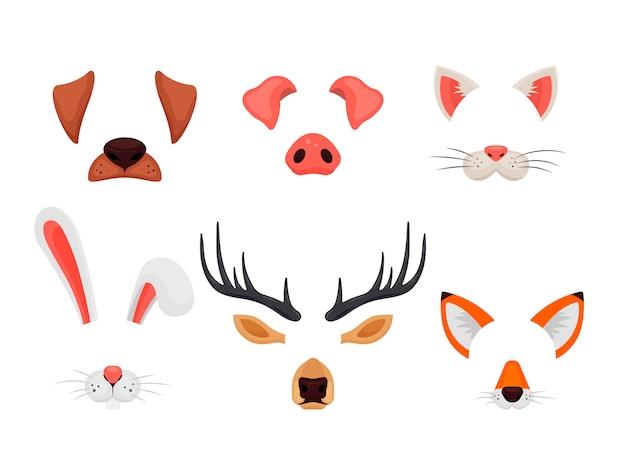 Tiergesichter mit ohren und nasen lokalisiert auf weißem hintergrund. video-chat-effekte und selfie-filter. lustige masken von hund, schwein, katze, kaninchen, hirsch und fuchs - illustration