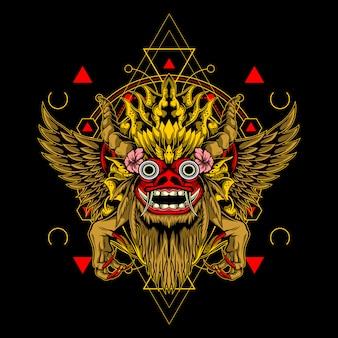 Tiergott maske heilige geometrie