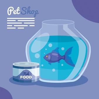 Tierhandlung mit fischglas und nahrungsfisch-vektorillustrationsdesign
