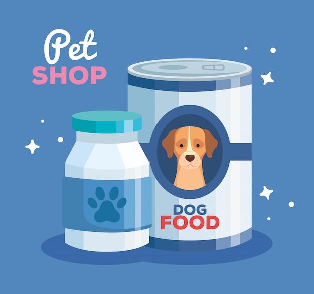 Tierhandlung mit futterhundedose und flascheplastikvektorillustrationsentwurf